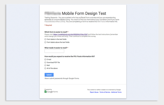 Survey created using Google Forms